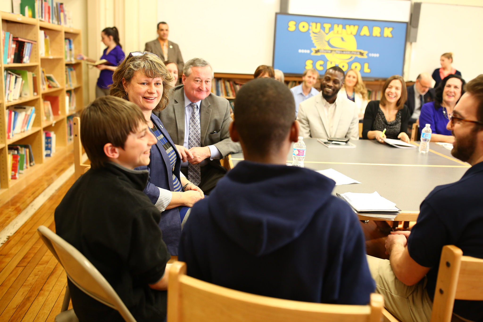 Mayor Kenney meets with parents, students, school staff and service providers at Southwark Elementary School in South Philadelphia to discuss how community schools help students succeed.