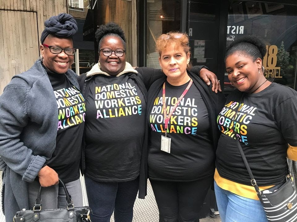 Philadelphia domestic worker leaders celebrate after the unanimous passage of the Philadelphia Domestic Workers Bill of Rights in October 2019, landmark legislation that provides critical workplace protections to the city's 16,000 nannies, house cleaners, and caregivers for the first time